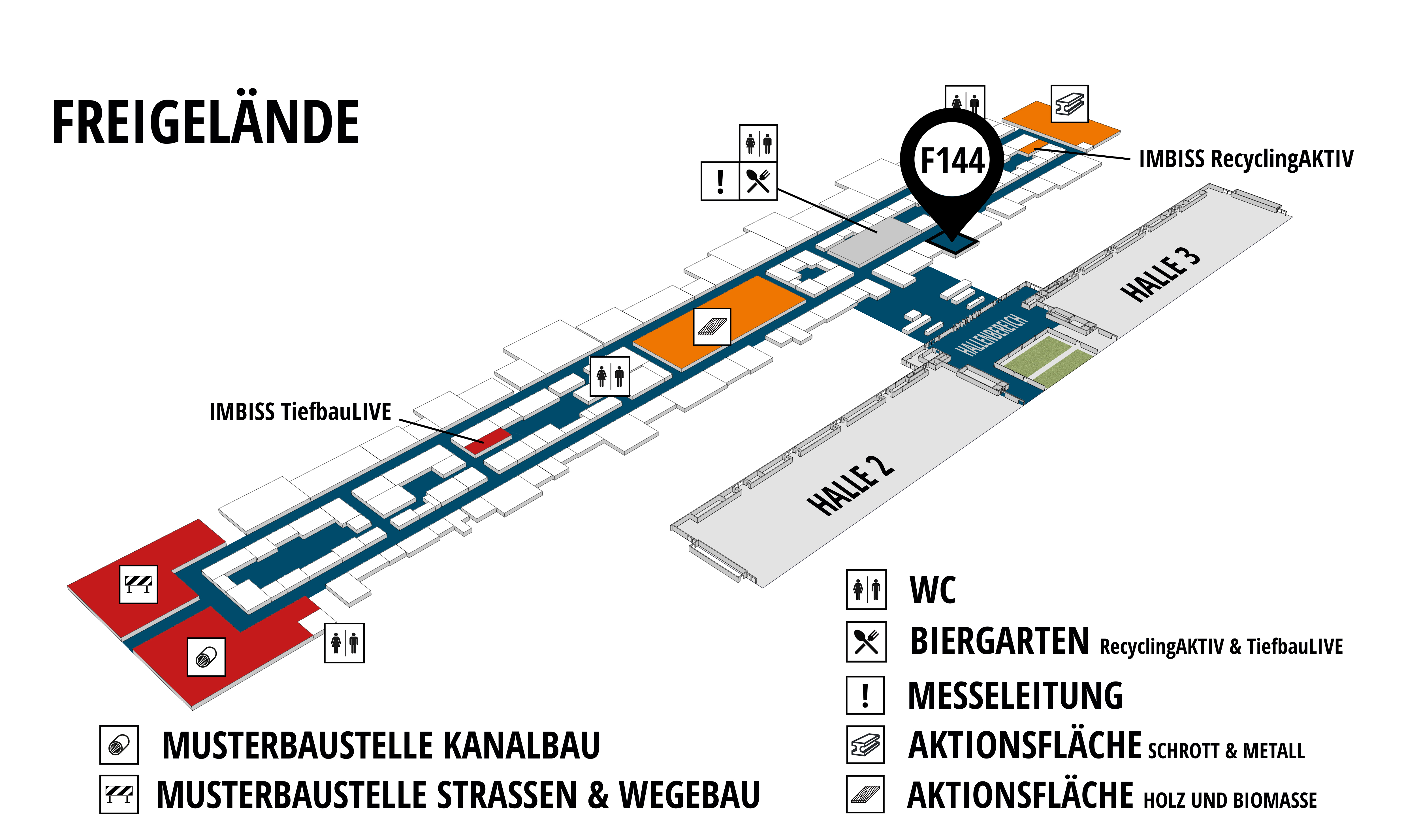 RecyclingAKTIV & TiefbauLIVE 2019. The Demonstration Trade Fairs ||Demonstration trade fair for waste removal and recycling. Demonstration trade fair for road construction and civil engineering. hall map (Outdoor area (east)): stand F144