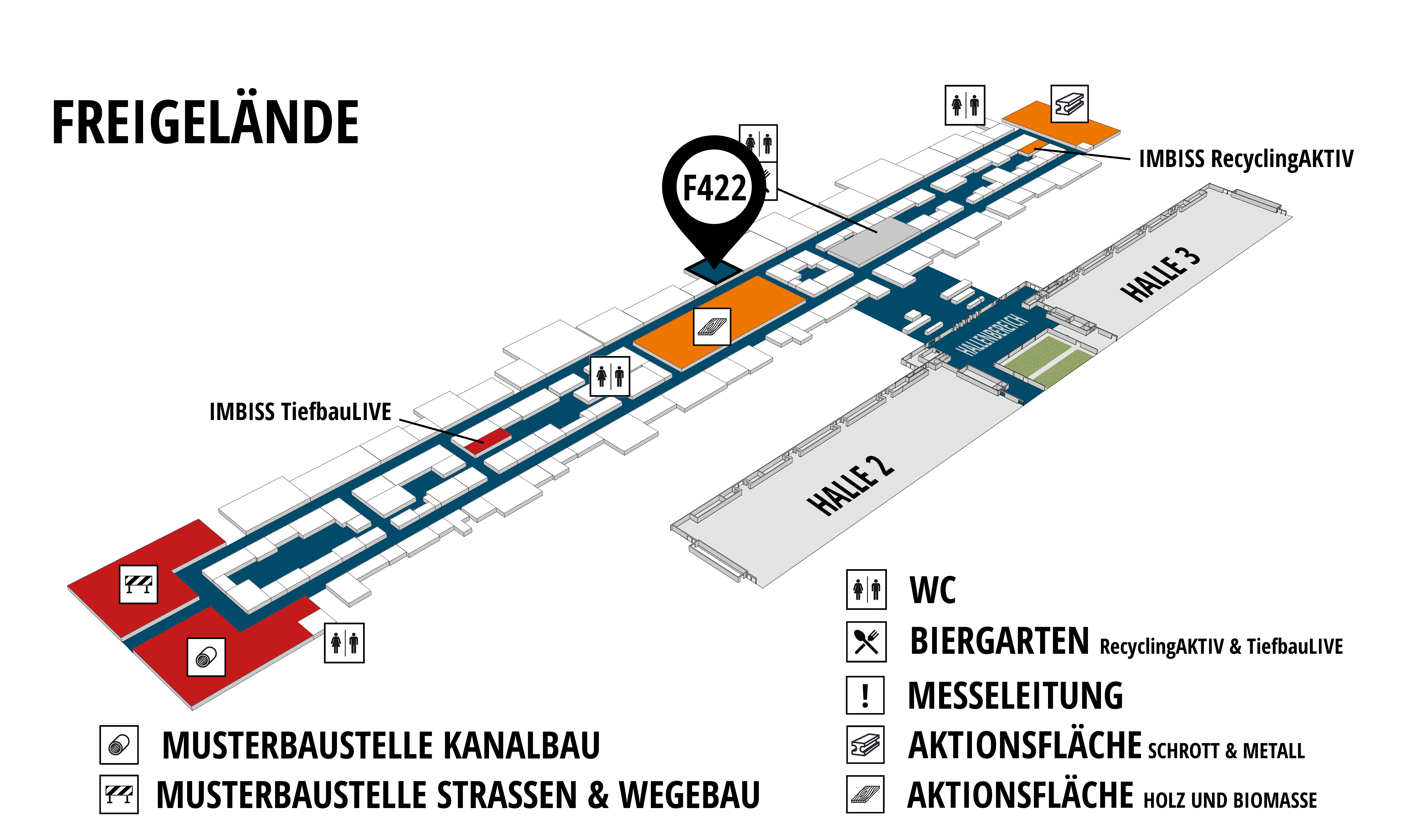 RecyclingAKTIV & TiefbauLIVE 2019. The Demonstration Trade Fairs ||Demonstration trade fair for waste removal and recycling. Demonstration trade fair for road construction and civil engineering. hall map (Outdoor area (east)): stand F422