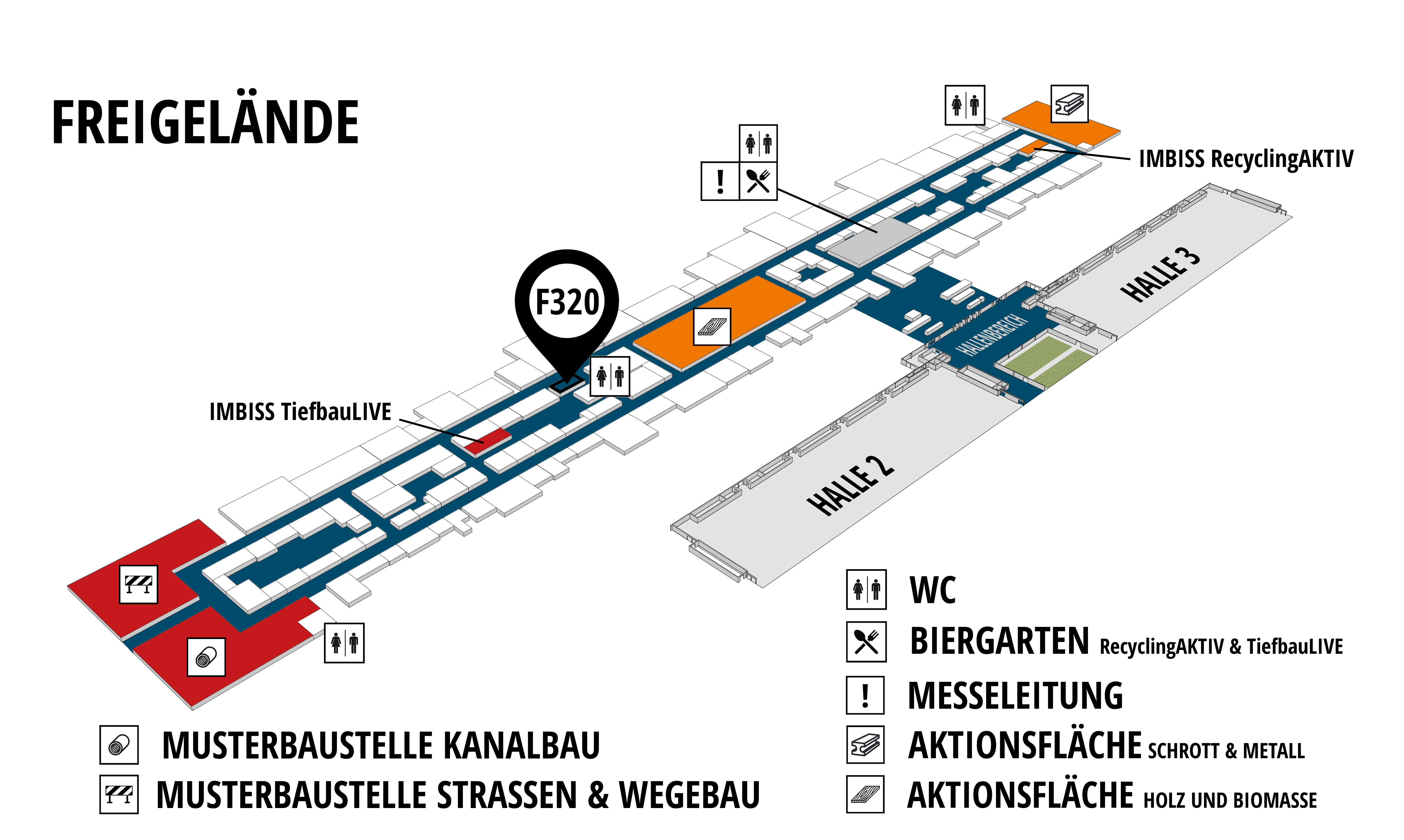 RecyclingAKTIV & TiefbauLIVE 2019. The Demonstration Trade Fairs ||Demonstration trade fair for waste removal and recycling. Demonstration trade fair for road construction and civil engineering. hall map (Outdoor area (east)): stand F320