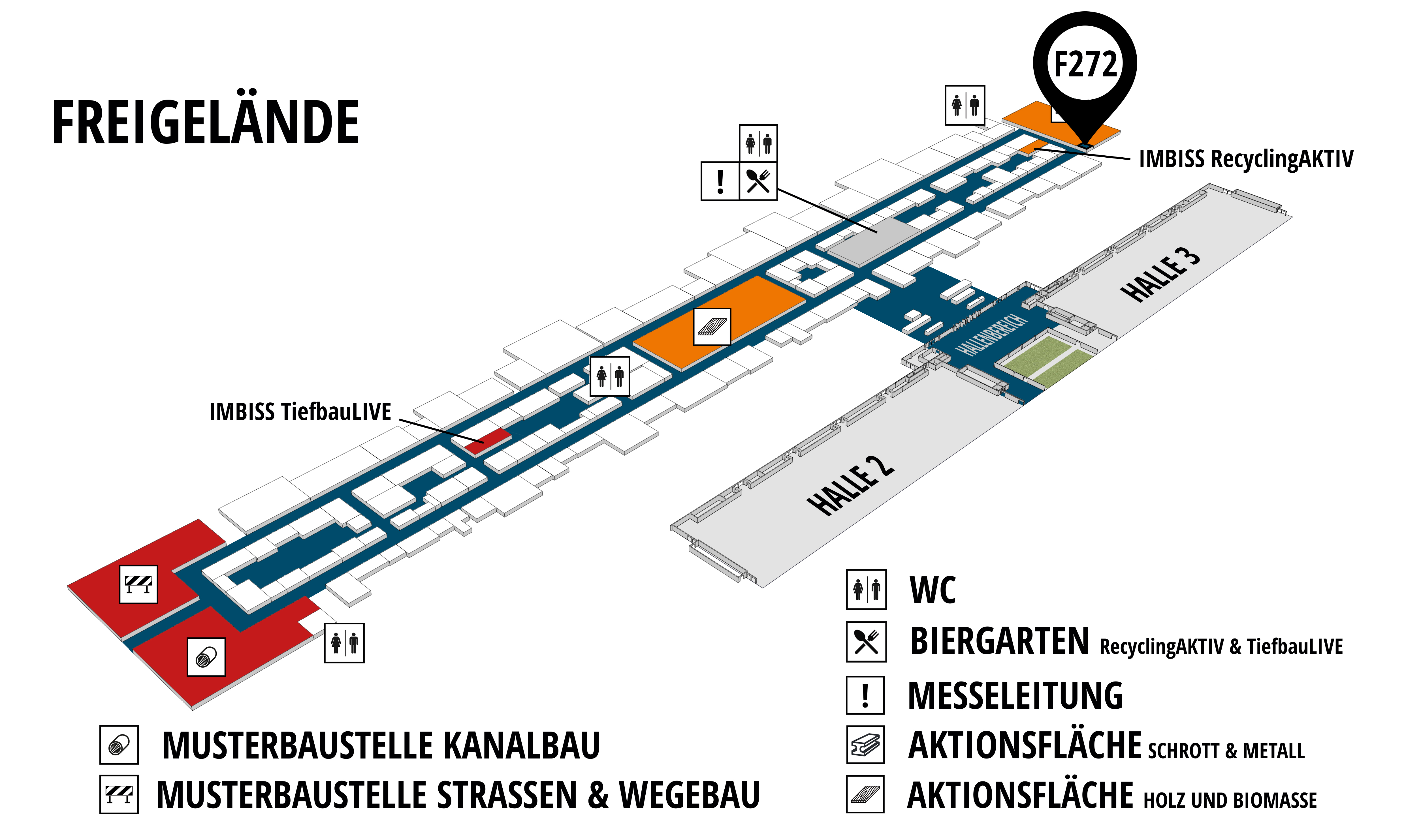 RecyclingAKTIV & TiefbauLIVE 2019. The Demonstration Trade Fairs ||Demonstration trade fair for waste removal and recycling. Demonstration trade fair for road construction and civil engineering. hall map (Outdoor area (east)): stand F272