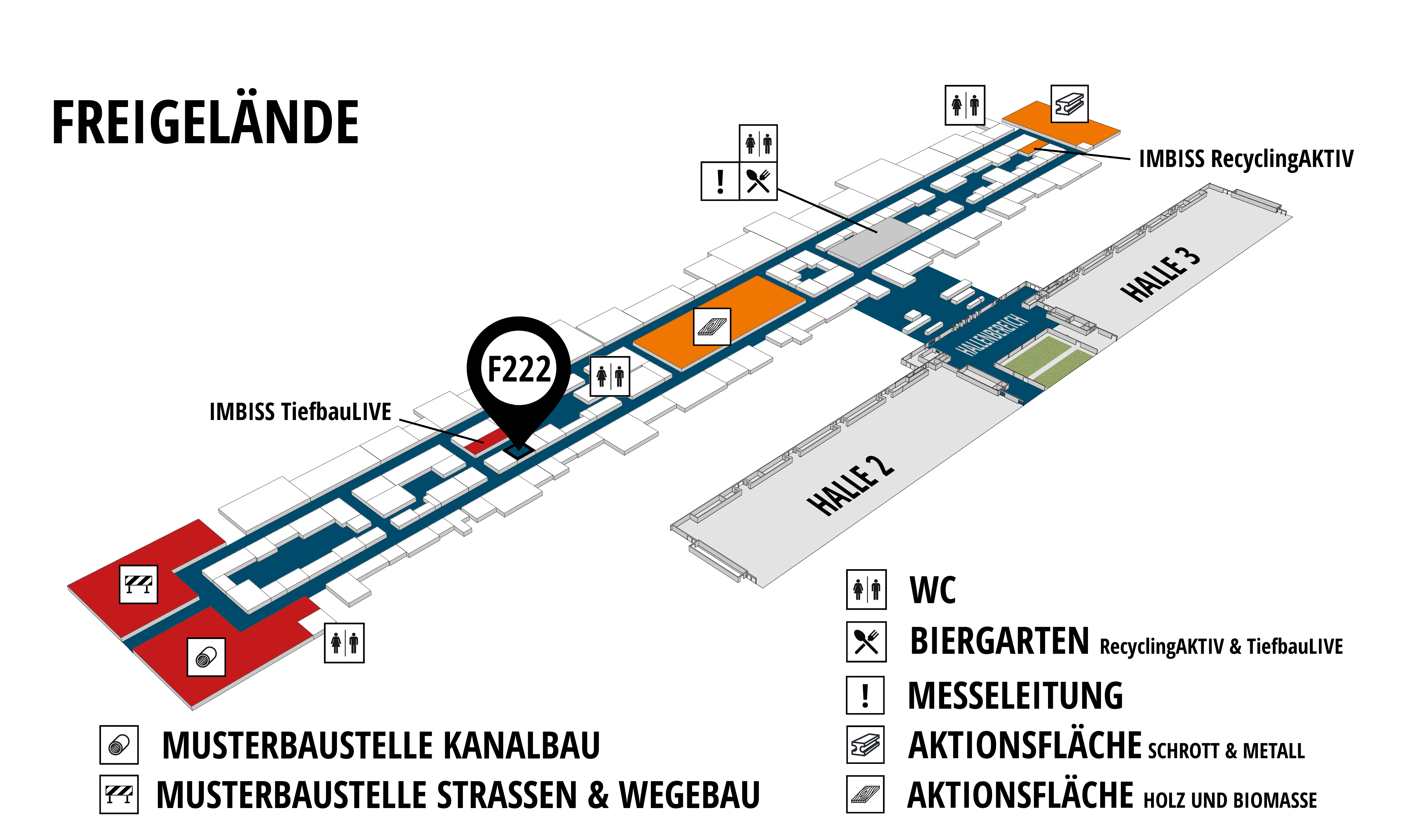 RecyclingAKTIV & TiefbauLIVE 2019. The Demonstration Trade Fairs ||Demonstration trade fair for waste removal and recycling. Demonstration trade fair for road construction and civil engineering. hall map (Outdoor area (east)): stand F222