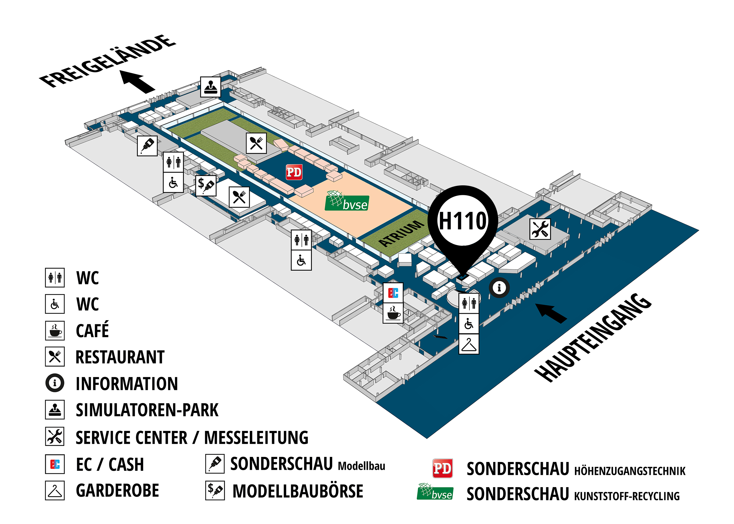 RecyclingAKTIV & TiefbauLIVE 2019. The Demonstration Trade Fairs ||Demonstration trade fair for waste removal and recycling. Demonstration trade fair for road construction and civil engineering. hall map (Visitors circuit): stand H110
