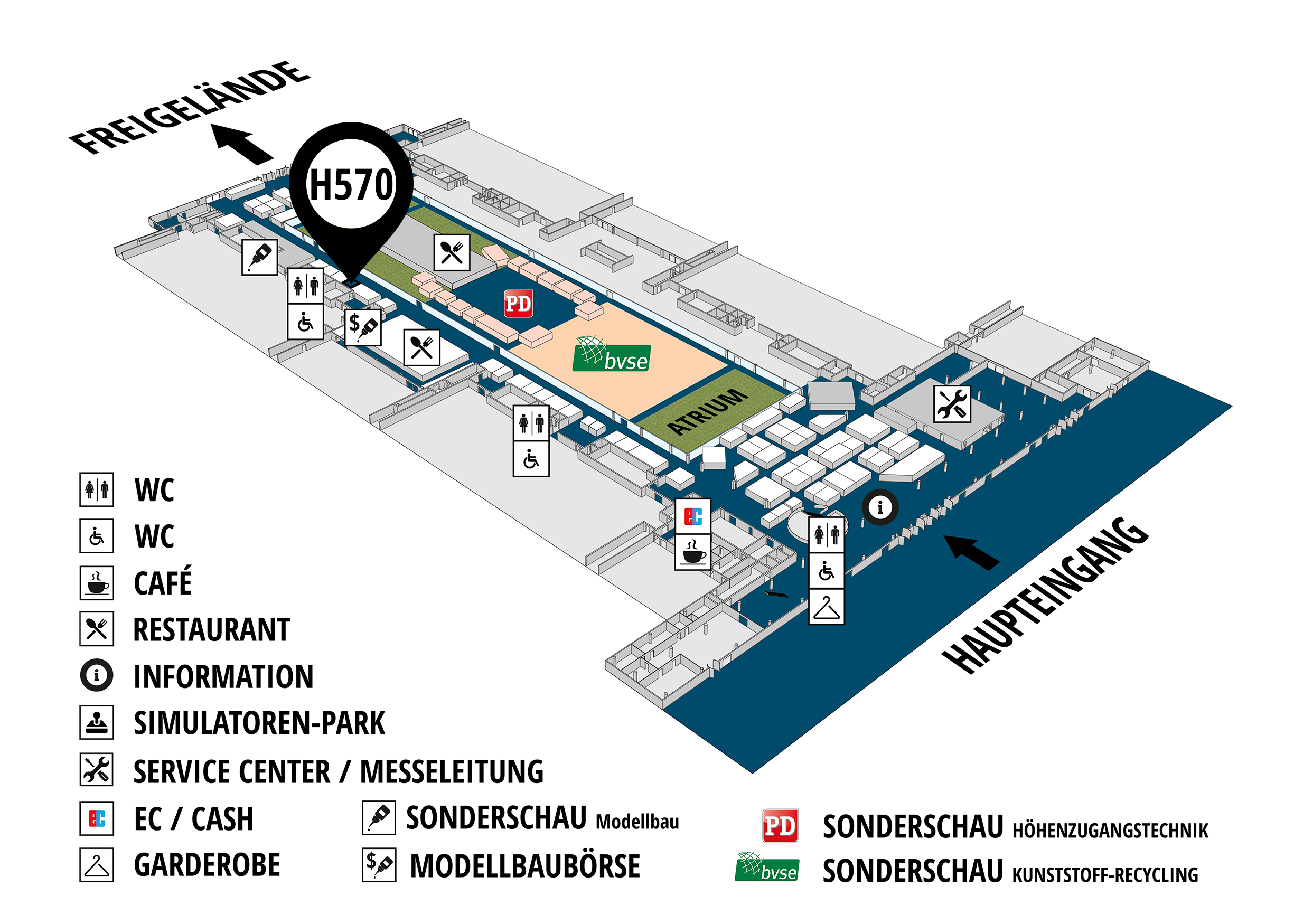 RecyclingAKTIV & TiefbauLIVE 2019. The Demonstration Trade Fairs ||Demonstration trade fair for waste removal and recycling. Demonstration trade fair for road construction and civil engineering. hall map (Visitors circuit): stand H570