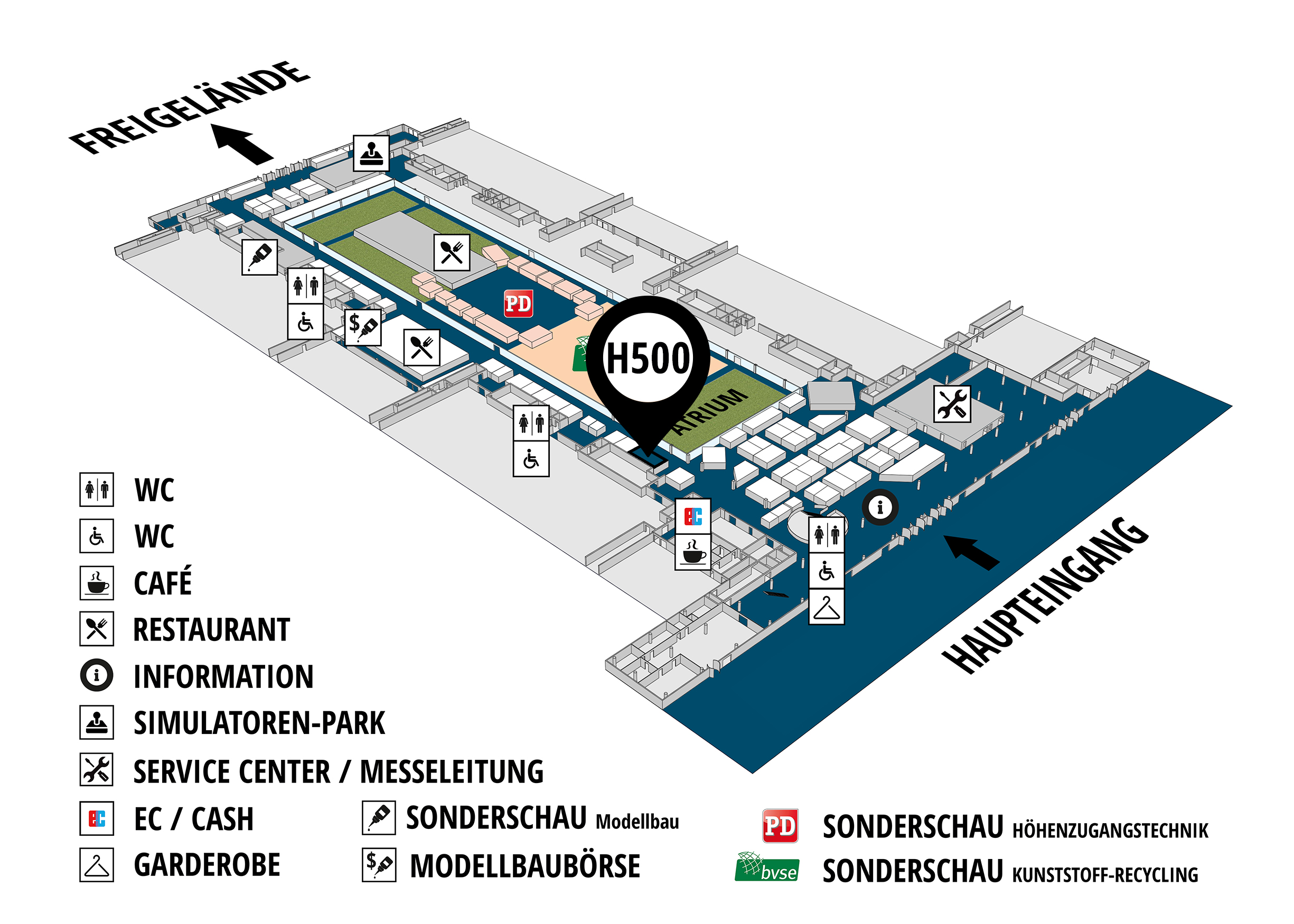 RecyclingAKTIV & TiefbauLIVE 2019. The Demonstration Trade Fairs ||Demonstration trade fair for waste removal and recycling. Demonstration trade fair for road construction and civil engineering. hall map (Visitors circuit): stand H500