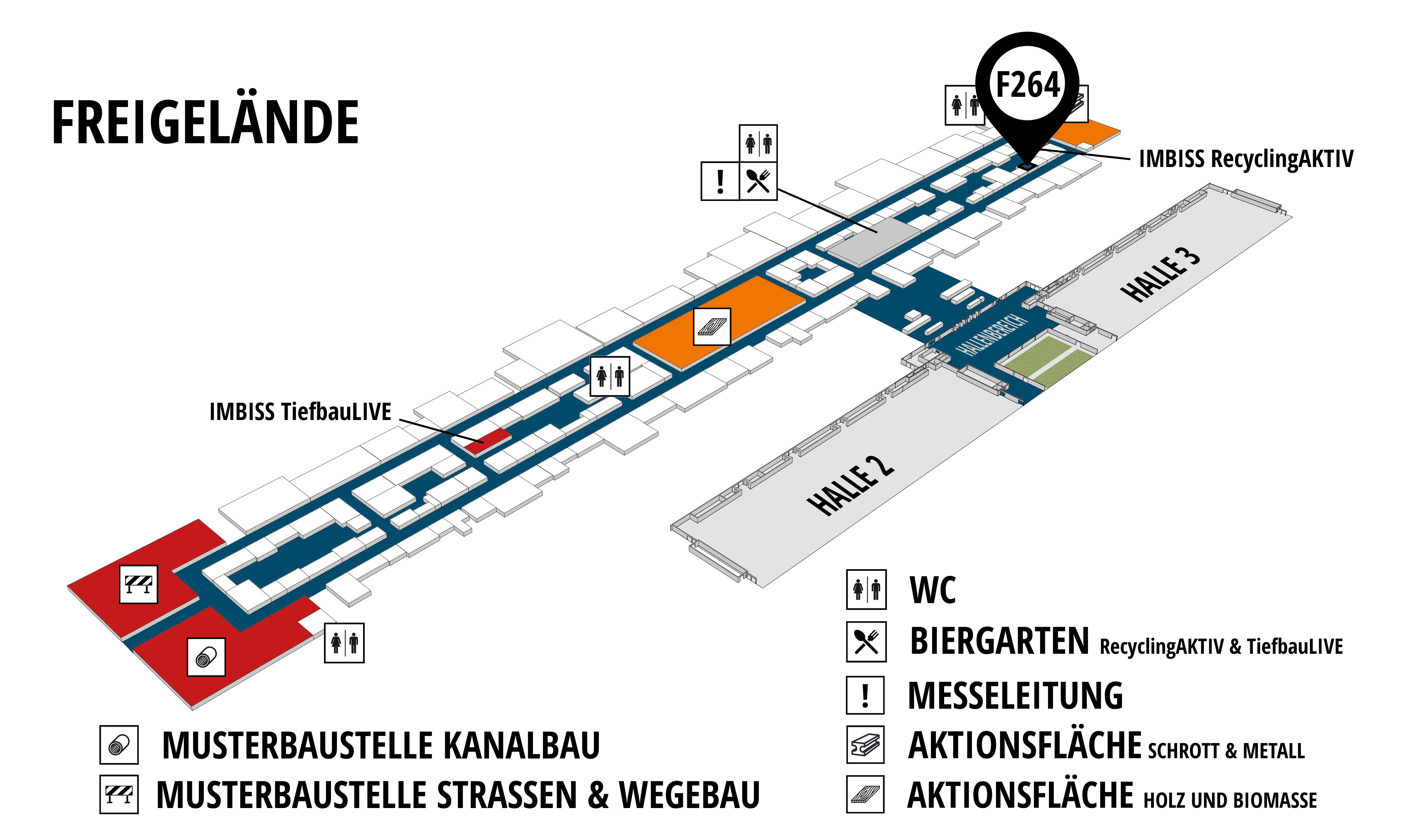 RecyclingAKTIV & TiefbauLIVE 2019. The Demonstration Trade Fairs ||Demonstration trade fair for waste removal and recycling. Demonstration trade fair for road construction and civil engineering. hall map (Outdoor area (east)): stand F264