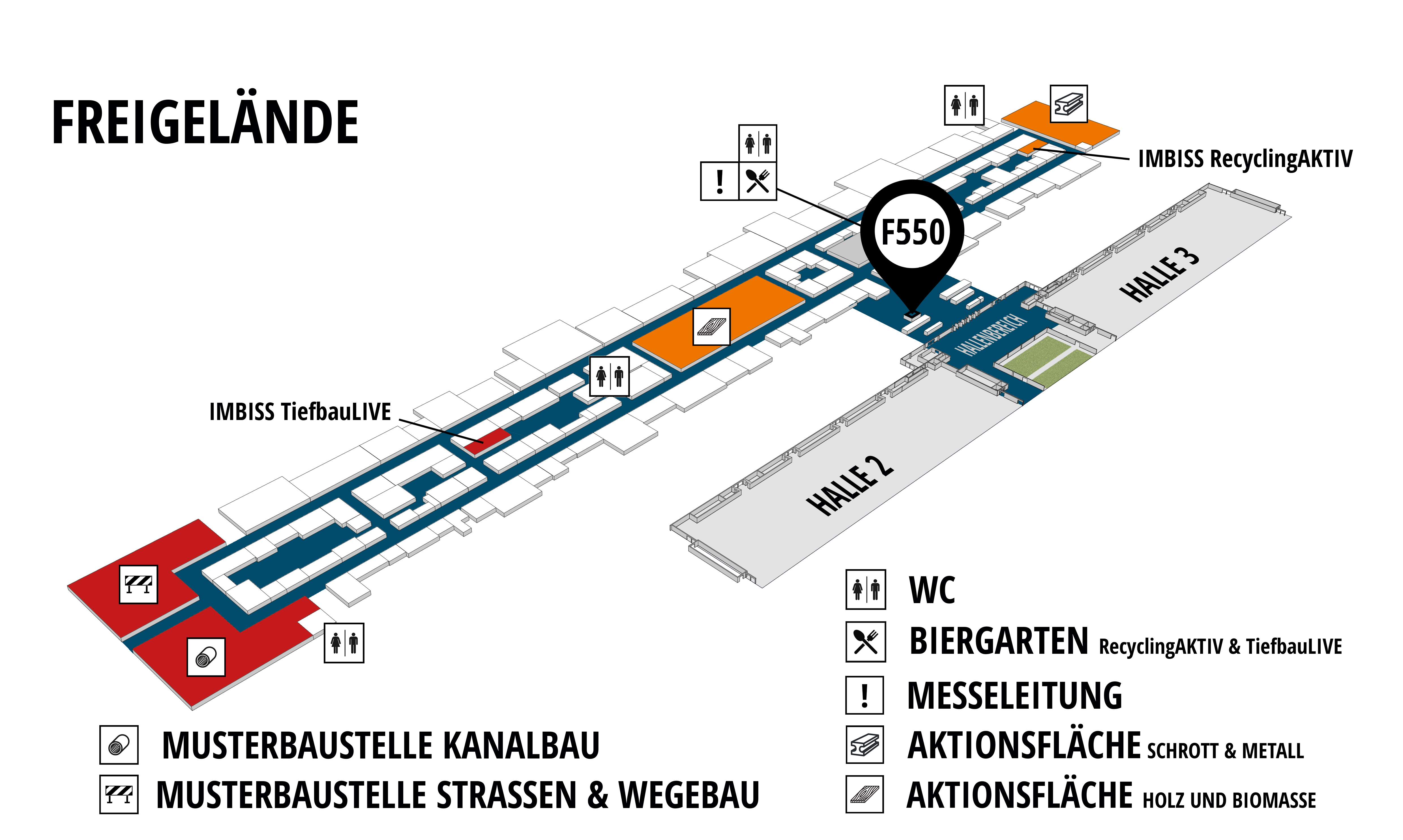RecyclingAKTIV & TiefbauLIVE 2019. The Demonstration Trade Fairs ||Demonstration trade fair for waste removal and recycling. Demonstration trade fair for road construction and civil engineering. hall map (Outdoor area (east)): stand F550