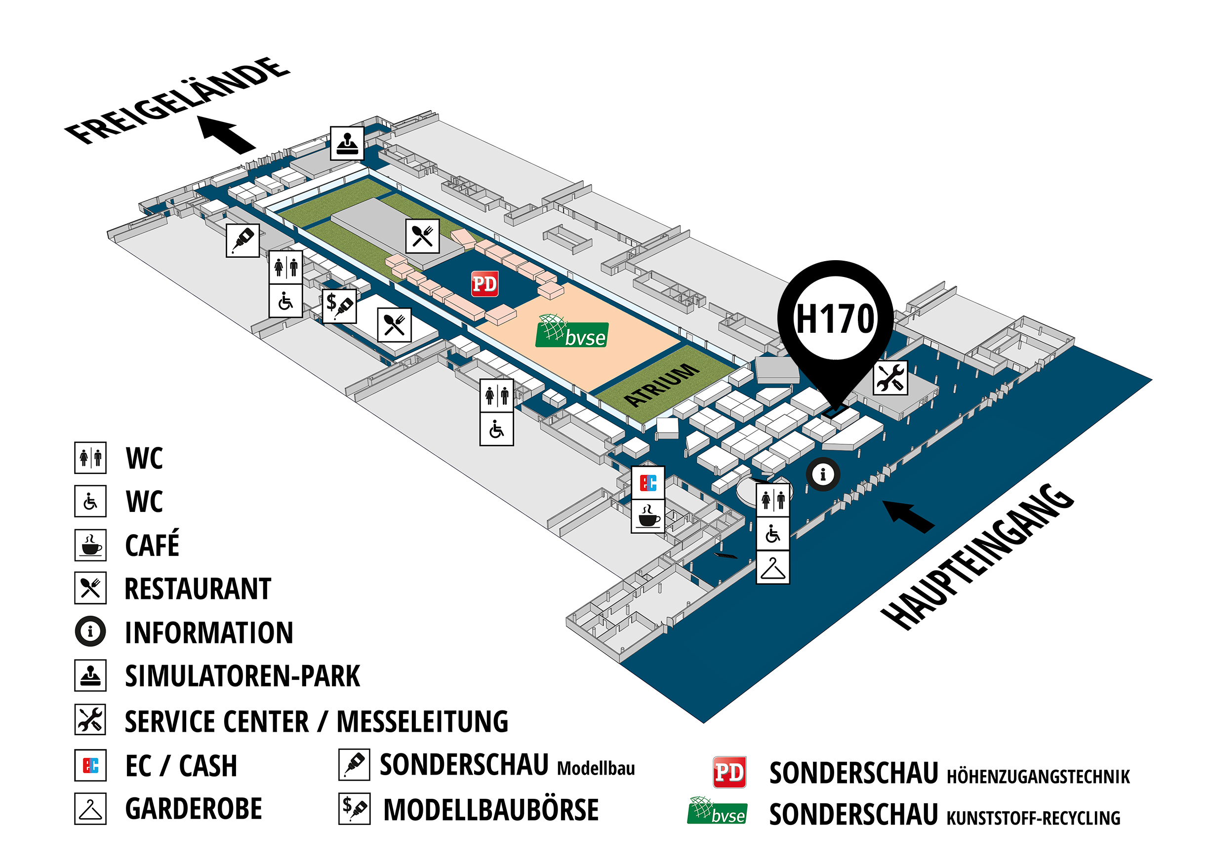 RecyclingAKTIV & TiefbauLIVE 2019. The Demonstration Trade Fairs ||Demonstration trade fair for waste removal and recycling. Demonstration trade fair for road construction and civil engineering. hall map (Visitors circuit): stand H170