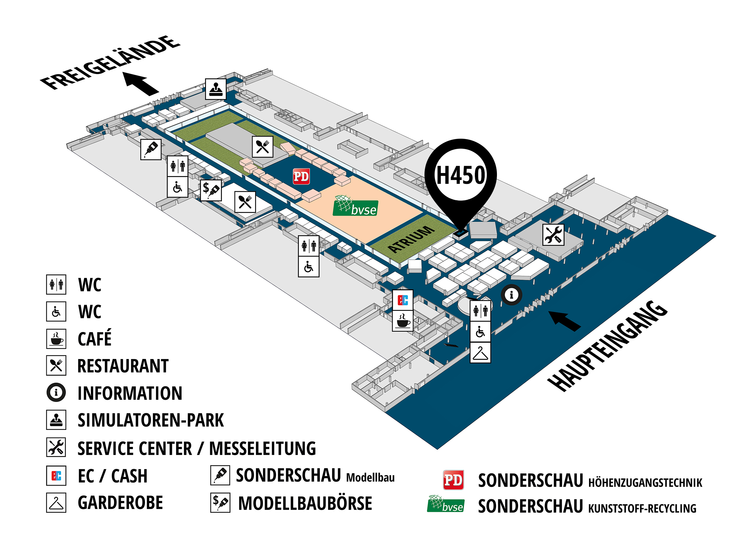 RecyclingAKTIV & TiefbauLIVE 2019. The Demonstration Trade Fairs ||Demonstration trade fair for waste removal and recycling. Demonstration trade fair for road construction and civil engineering. hall map (Visitors circuit): stand H450