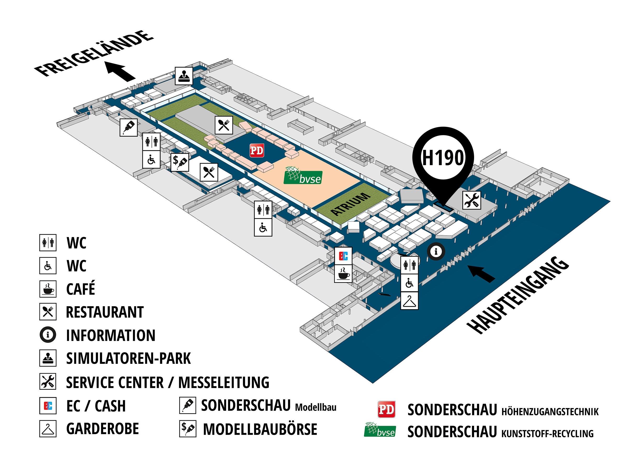 RecyclingAKTIV & TiefbauLIVE 2019. The Demonstration Trade Fairs ||Demonstration trade fair for waste removal and recycling. Demonstration trade fair for road construction and civil engineering. hall map (Visitors circuit): stand H190